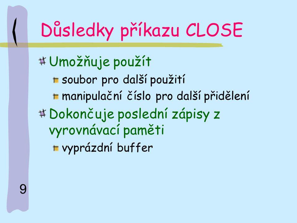 10 Příklad práce se souborem Dim nazevsoub As String Dim znak As string*1 …… Private Sub …… nazevsoub = c:\muj.txt Open nazevsoub For Input As# 1 …… 'práce se souborem Close #1 End Sub
