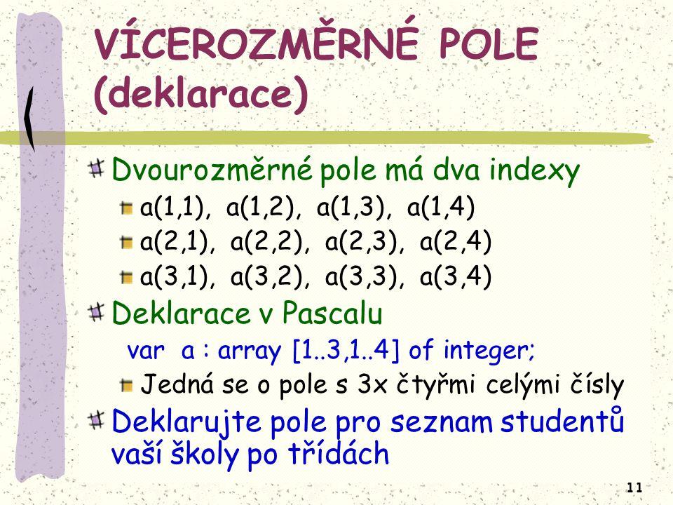 11 VÍCEROZMĚRNÉ POLE (deklarace) Dvourozměrné pole má dva indexy a(1,1), a(1,2), a(1,3), a(1,4) a(2,1), a(2,2), a(2,3), a(2,4) a(3,1), a(3,2), a(3,3), a(3,4) Deklarace v Pascalu var a : array [1..3,1..4] of integer; Jedná se o pole s 3x čtyřmi celými čísly Deklarujte pole pro seznam studentů vaší školy po třídách