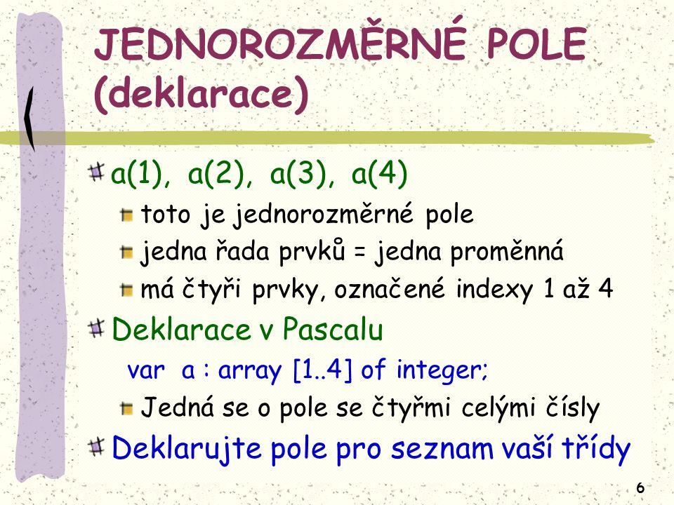 6 JEDNOROZMĚRNÉ POLE (deklarace) a(1), a(2), a(3), a(4) toto je jednorozměrné pole jedna řada prvků = jedna proměnná má čtyři prvky, označené indexy 1 až 4 Deklarace v Pascalu var a : array [1..4] of integer; Jedná se o pole se čtyřmi celými čísly Deklarujte pole pro seznam vaší třídy
