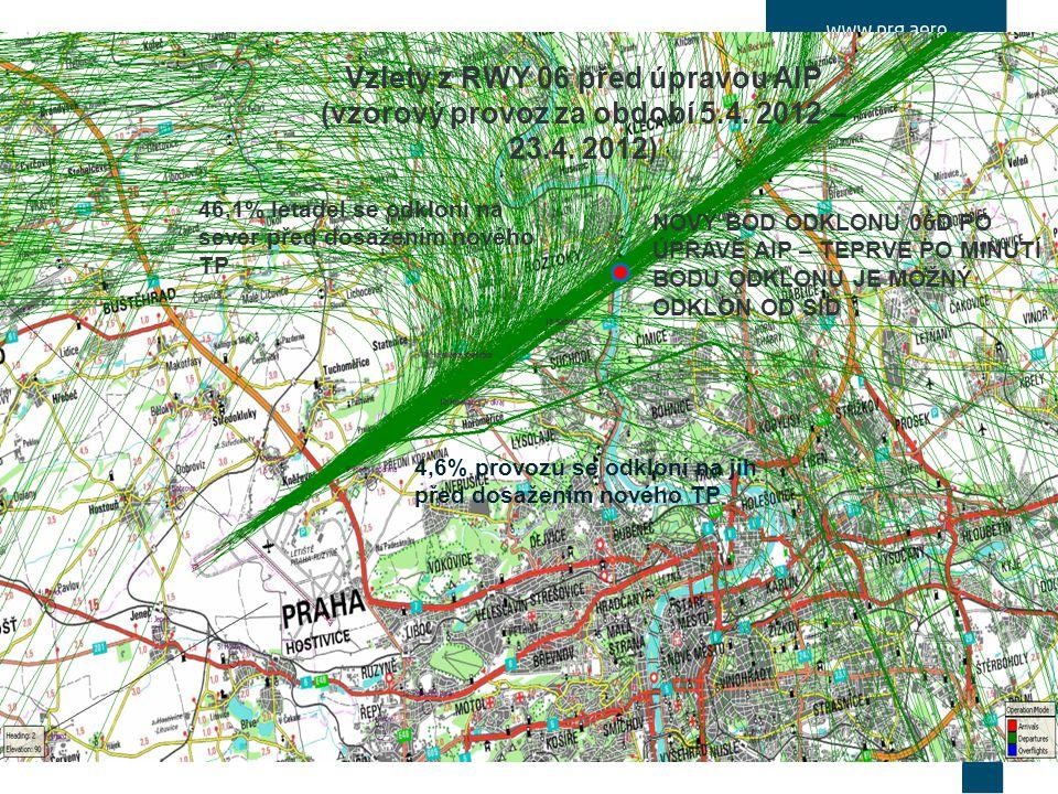 Vzlety z RWY 06 před úpravou AIP (vzorový provoz za období 5.4.