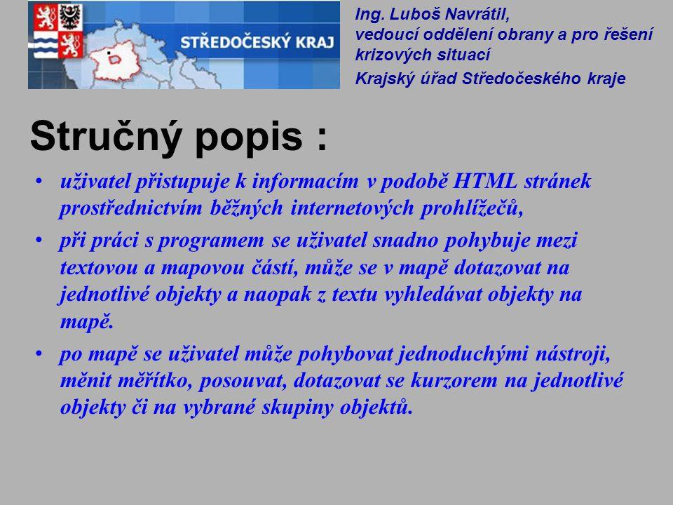Stručný popis : uživatel přistupuje k informacím v podobě HTML stránek prostřednictvím běžných internetových prohlížečů, při práci s programem se uživ