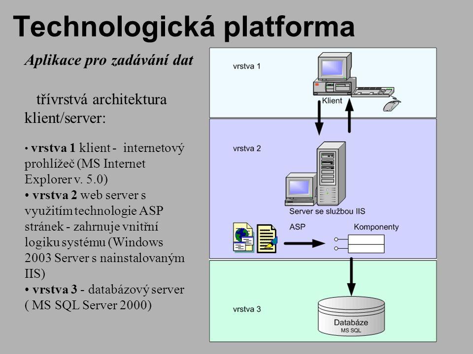 Technologická platforma Aplikace pro zadávání dat třívrstvá architektura klient/server: vrstva 1 klient - internetový prohlížeč (MS Internet Explorer