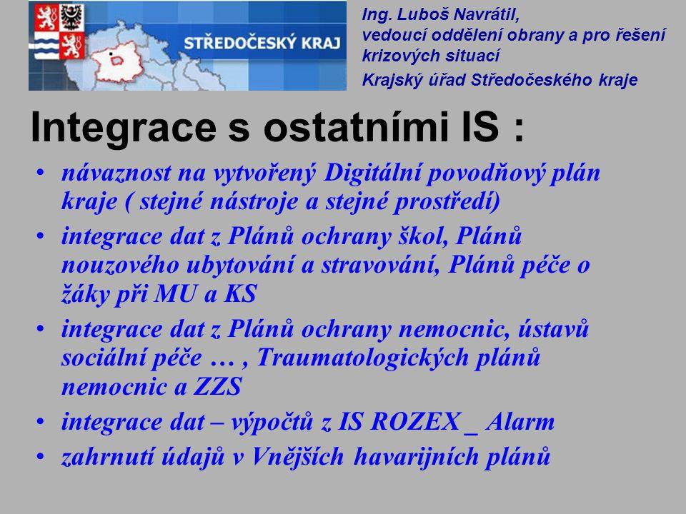 Integrace s ostatními IS : návaznost na vytvořený Digitální povodňový plán kraje ( stejné nástroje a stejné prostředí) integrace dat z Plánů ochrany š