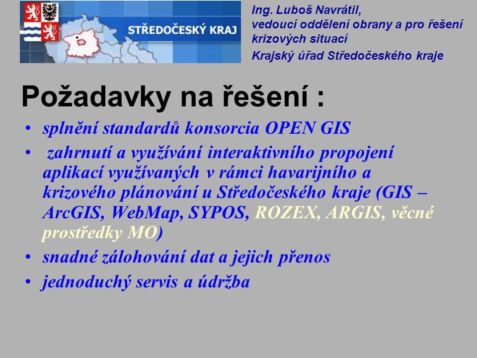Požadavky na řešení : splnění standardů konsorcia OPEN GIS zahrnutí a využívání interaktivního propojení aplikací využívaných v rámci havarijního a kr