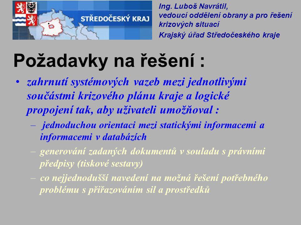 Co není cílem řešení DKP: Duplikovat ISKŘ připravovaný MV ČR Zajišťovat taktické a operační řízení při řešení mimořádných událostí resp.
