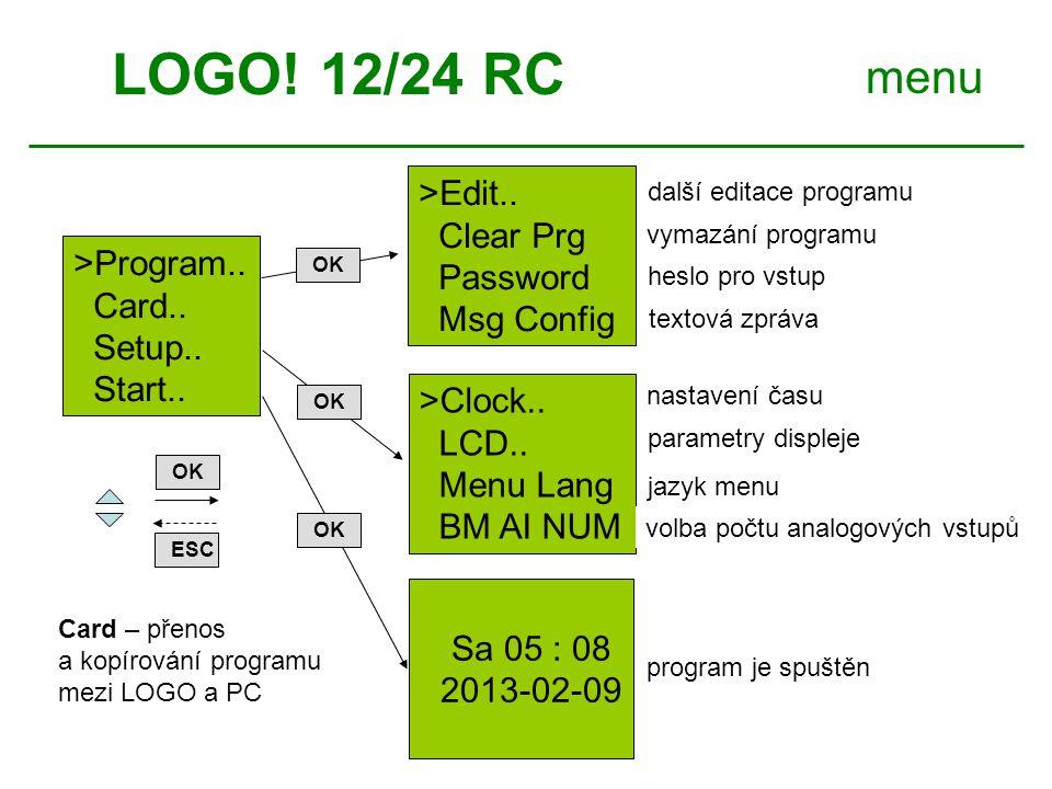 LOGO.12/24 RC menu ESC OK Edit.. >Clear Prg Password Msg Config >Edit Prg Edit Name AQ Memory.