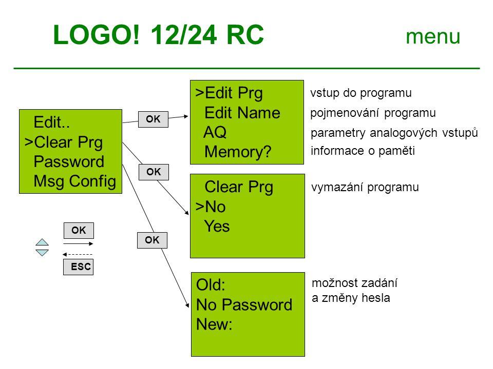 LOGO.12/24 RC menu ESC OK >Clock.. LCD..
