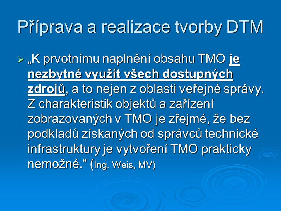 """Příprava a realizace tvorby DTM  """"K prvotnímu naplnění obsahu TMO je nezbytné využít všech dostupných zdrojů, a to nejen z oblasti veřejné správy. Z"""