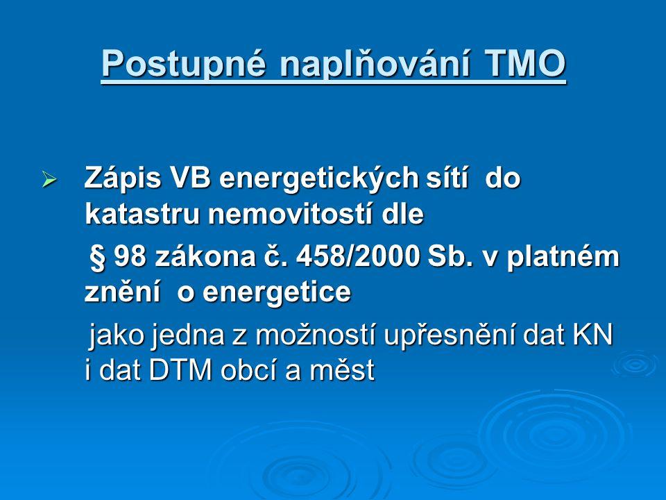 Postupné naplňování TMO  Zápis VB energetických sítí do katastru nemovitostí dle § 98 zákona č. 458/2000 Sb. v platném znění o energetice § 98 zákona