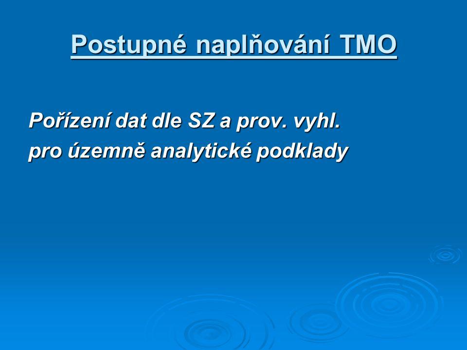 Postupné naplňování TMO Pořízení dat dle SZ a prov. vyhl. pro územně analytické podklady