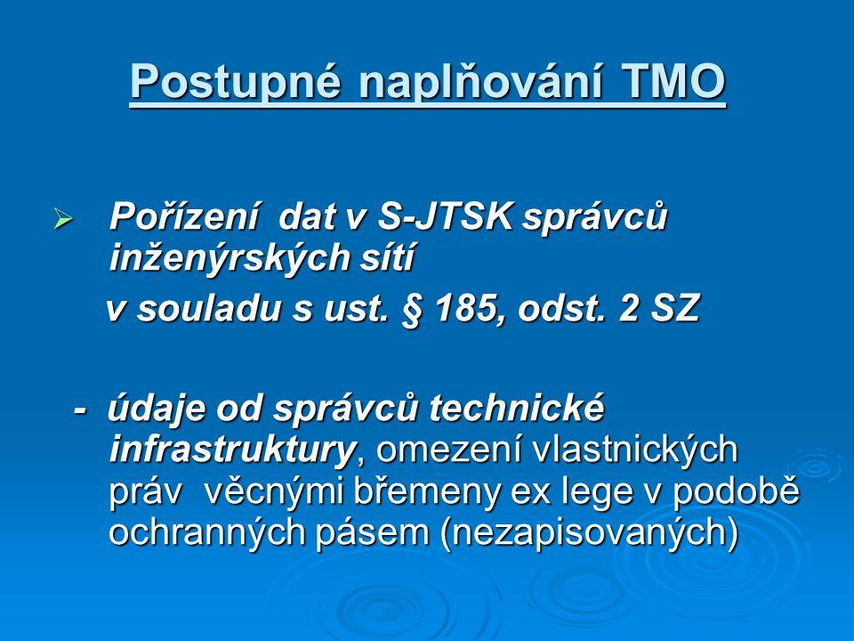 Postupné naplňování TMO  Pořízení dat v S-JTSK správců inženýrských sítí v souladu s ust. § 185, odst. 2 SZ v souladu s ust. § 185, odst. 2 SZ - údaj