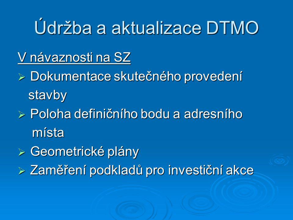 Údržba a aktualizace DTMO V návaznosti na SZ  Dokumentace skutečného provedení stavby stavby  Poloha definičního bodu a adresního místa místa  Geom