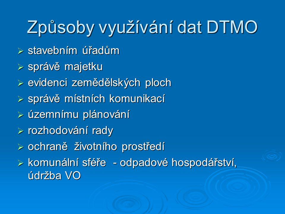 Způsoby využívání dat DTMO  stavebním úřadům  správě majetku  evidenci zemědělských ploch  správě místních komunikací  územnímu plánování  rozho