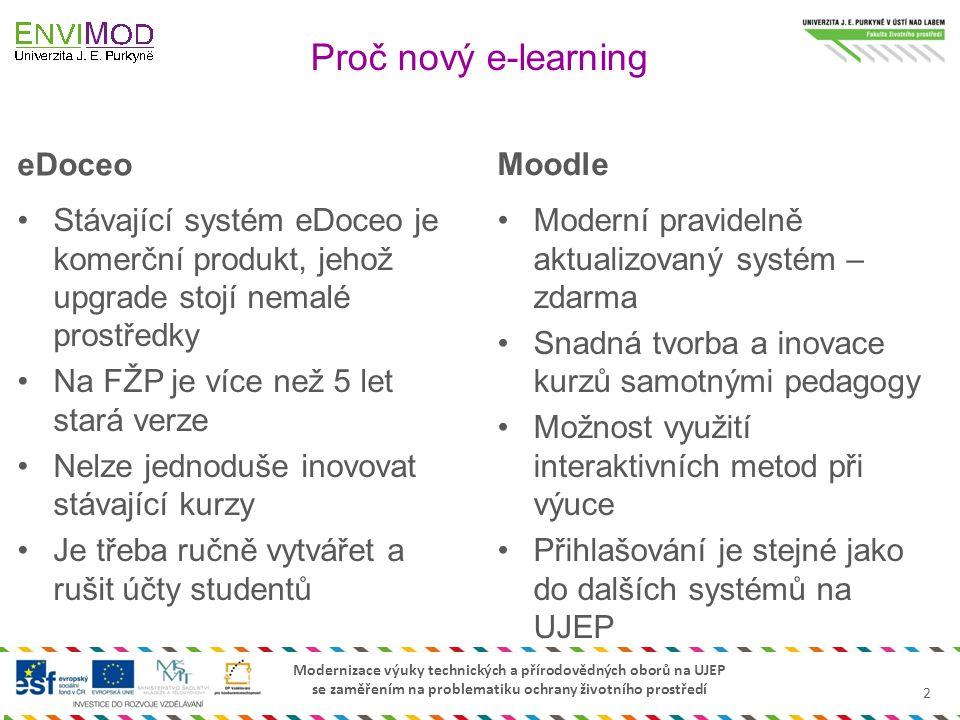 Modernizace výuky technických a přírodovědných oborů na UJEP se zaměřením na problematiku ochrany životního prostředí Proč nový e-learning eDoceo Stáv