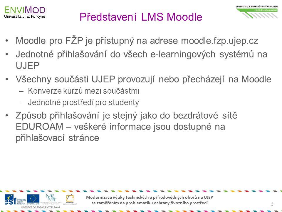 Modernizace výuky technických a přírodovědných oborů na UJEP se zaměřením na problematiku ochrany životního prostředí Moodle pro FŽP je přístupný na a