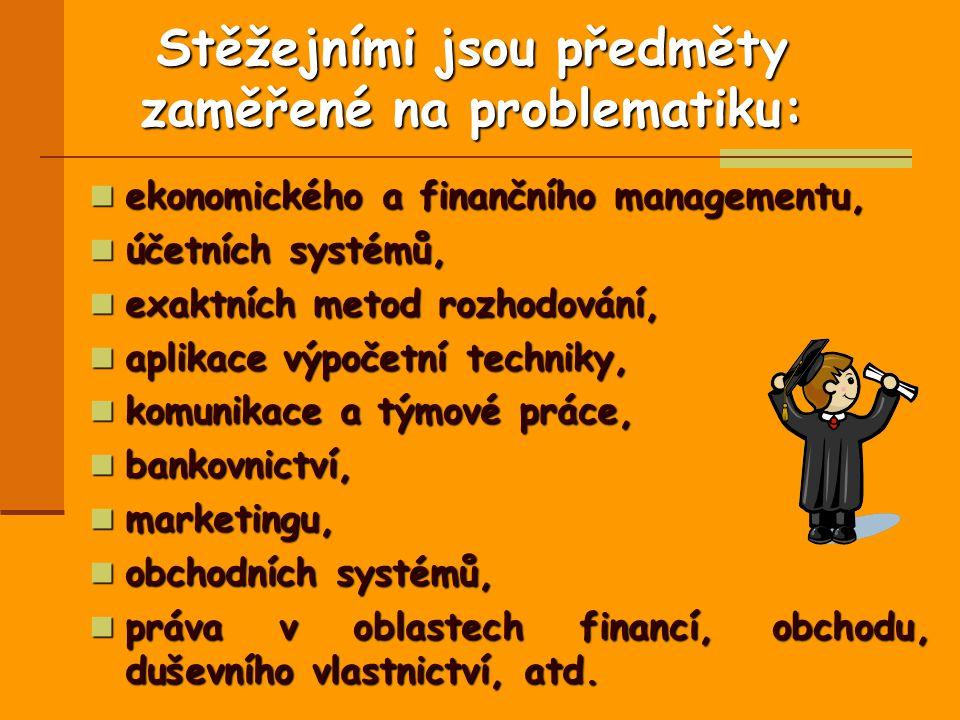 Stěžejními jsou předměty zaměřené na problematiku: ekonomického a finančního managementu, ekonomického a finančního managementu, účetních systémů, účetních systémů, exaktních metod rozhodování, exaktních metod rozhodování, aplikace výpočetní techniky, aplikace výpočetní techniky, komunikace a týmové práce, komunikace a týmové práce, bankovnictví, bankovnictví, marketingu, marketingu, obchodních systémů, obchodních systémů, práva v oblastech financí, obchodu, duševního vlastnictví, atd.