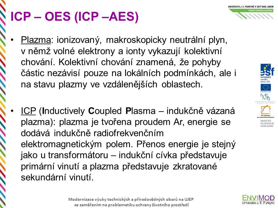 Modernizace výuky technických a přírodovědných oborů na UJEP se zaměřením na problematiku ochrany životního prostředí ICP – OES (ICP –AES) Plazma: ion