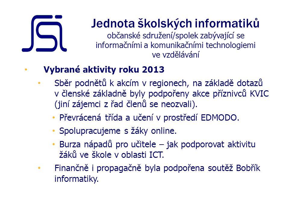 Vybrané aktivity roku 2013 Sběr podnětů k akcím v regionech, na základě dotazů v členské základně byly podpořeny akce příznivců KVIC (jiní zájemci z řad členů se neozvali).