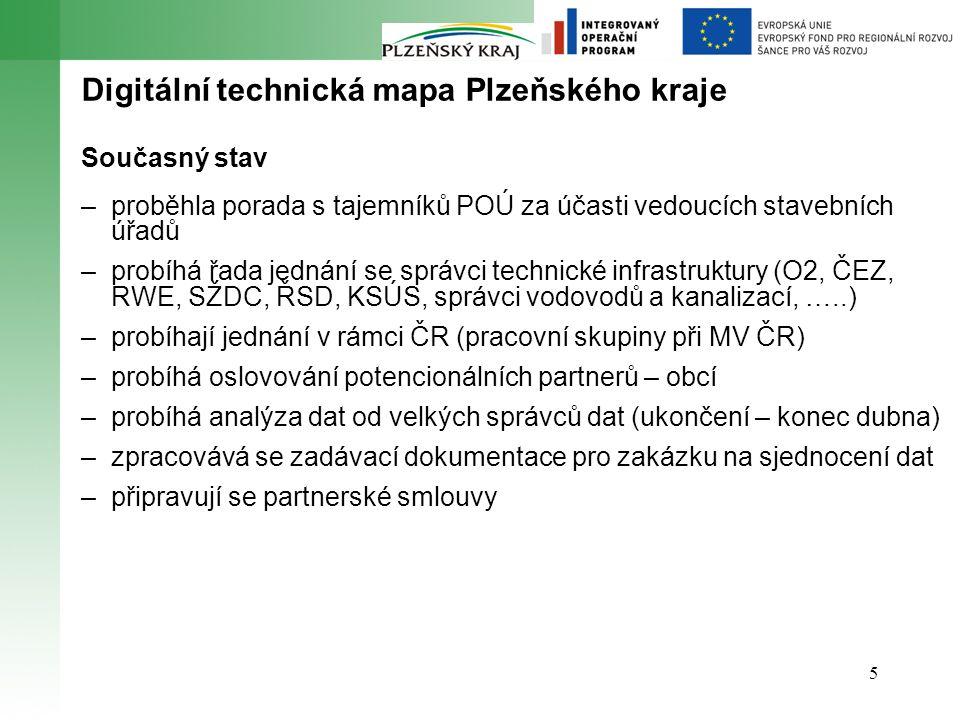 5 Digitální technická mapa Plzeňského kraje Současný stav –proběhla porada s tajemníků POÚ za účasti vedoucích stavebních úřadů –probíhá řada jednání