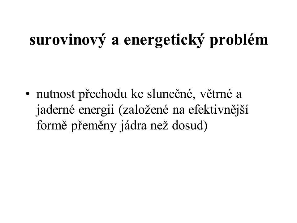 surovinový a energetický problém nutnost přechodu ke slunečné, větrné a jaderné energii (založené na efektivnější formě přeměny jádra než dosud)