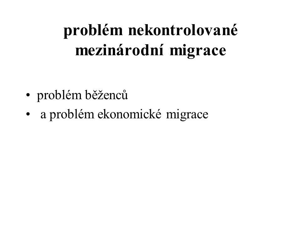 problém nekontrolované mezinárodní migrace problém běženců a problém ekonomické migrace