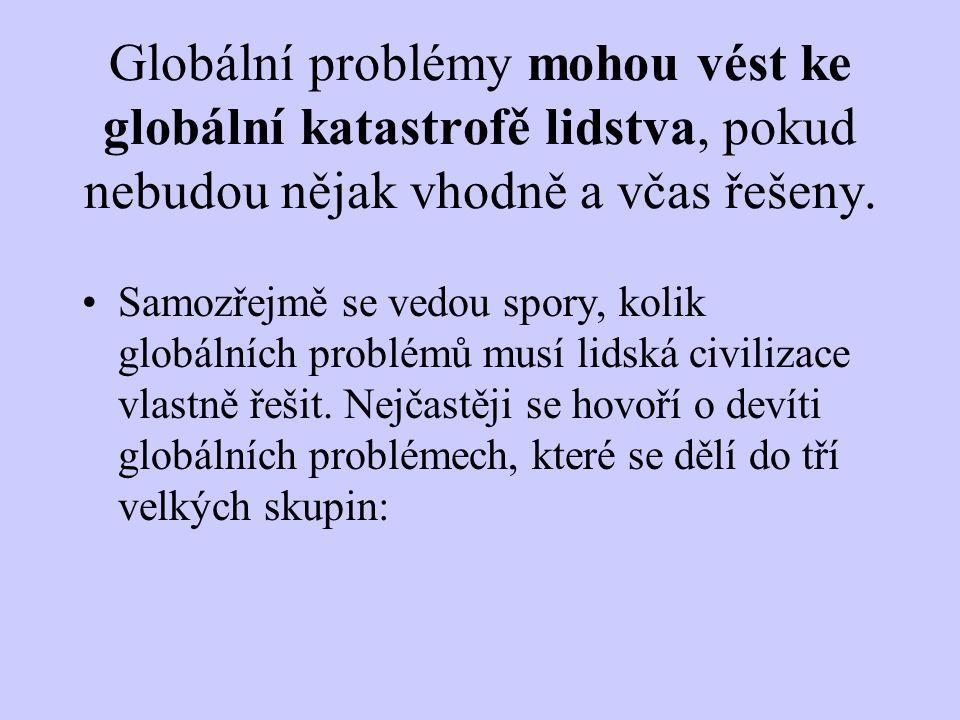Globální problémy mohou vést ke globální katastrofě lidstva, pokud nebudou nějak vhodně a včas řešeny. Samozřejmě se vedou spory, kolik globálních pro