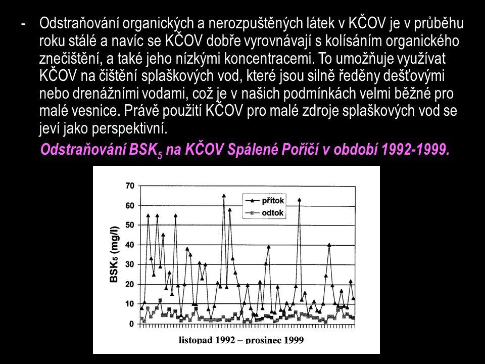 -Odstraňování organických a nerozpuštěných látek v KČOV je v průběhu roku stálé a navíc se KČOV dobře vyrovnávají s kolísáním organického znečištění, a také jeho nízkými koncentracemi.