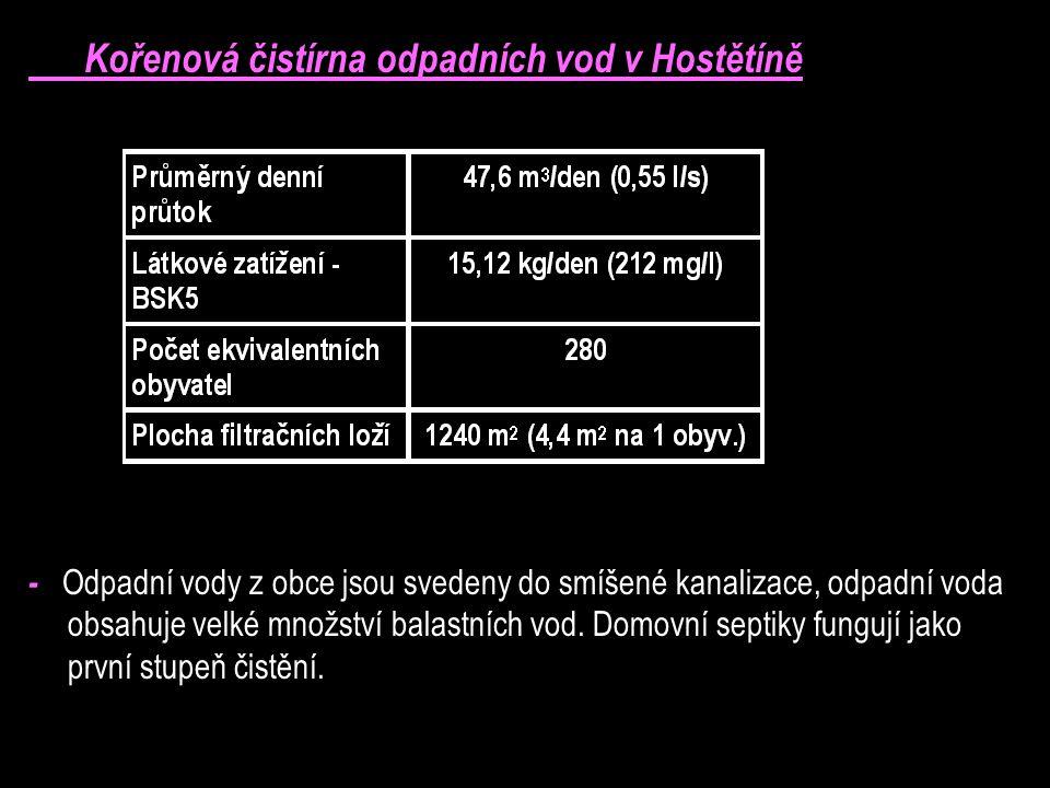 Kořenová čistírna odpadních vod v Hostětíně - Odpadní vody z obce jsou svedeny do smíšené kanalizace, odpadní voda obsahuje velké množství balastních vod.