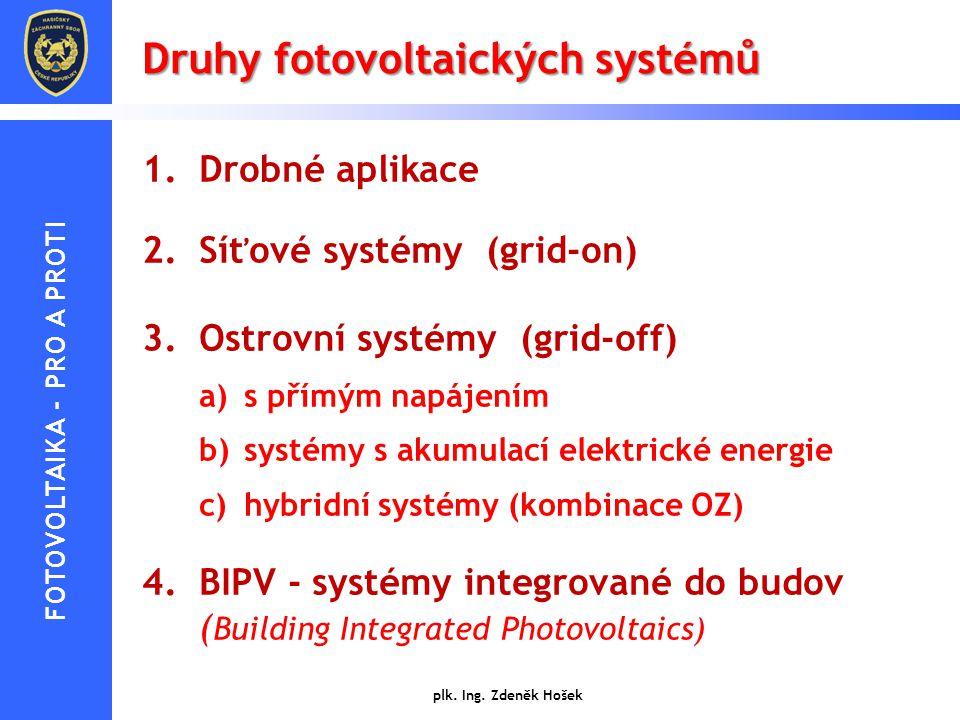 Druhy fotovoltaických systémů 1.Drobné aplikace 2.Síťové systémy (grid-on) 3.Ostrovní systémy (grid-off) a)s přímým napájením b)systémy s akumulací el
