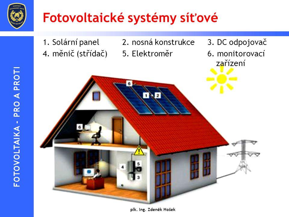 Fotovoltaické systémy síťové 1. Solární panel2. nosná konstrukce3. DC odpojovač 4. měnič (střídač)5. Elektroměr6. monitorovací zařízení plk. Ing. Zden