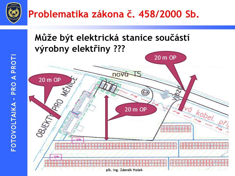 Problematika zákona č. 458/2000 Sb. Může být elektrická stanice součástí výrobny elektřiny ??? 20 m OP plk. Ing. Zdeněk Hošek 20 m OP FOTOVOLTAIKA - P
