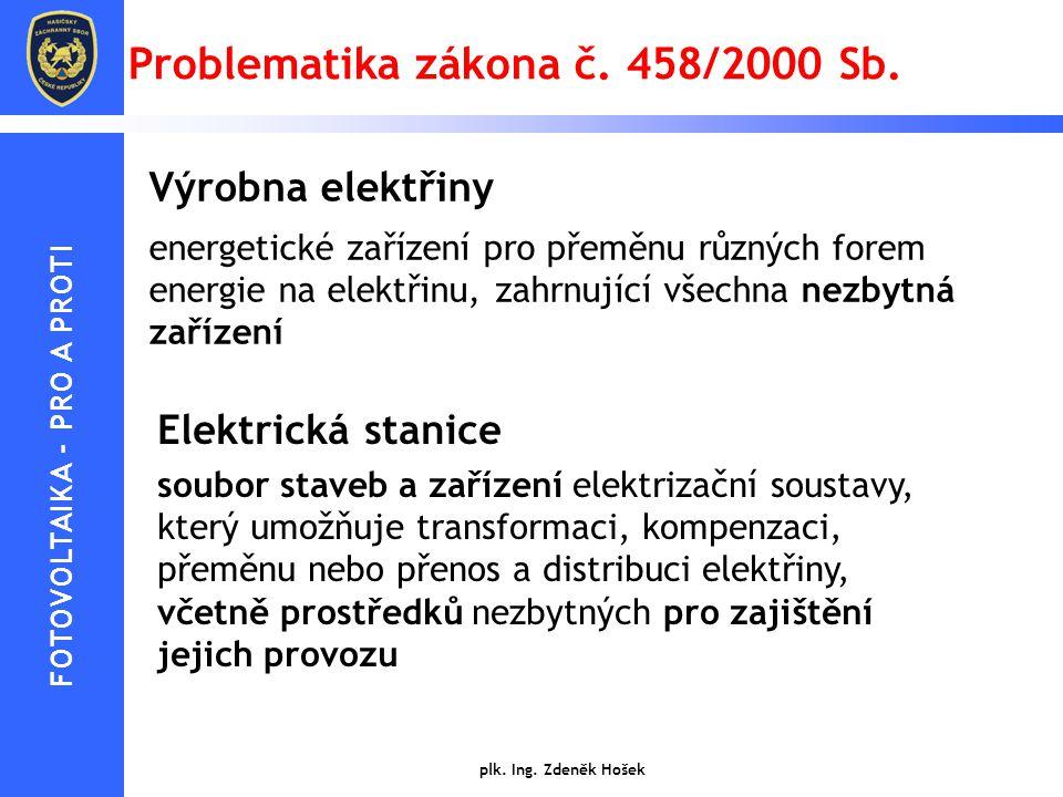 Problematika zákona č. 458/2000 Sb. Výrobna elektřiny energetické zařízení pro přeměnu různých forem energie na elektřinu, zahrnující všechna nezbytná