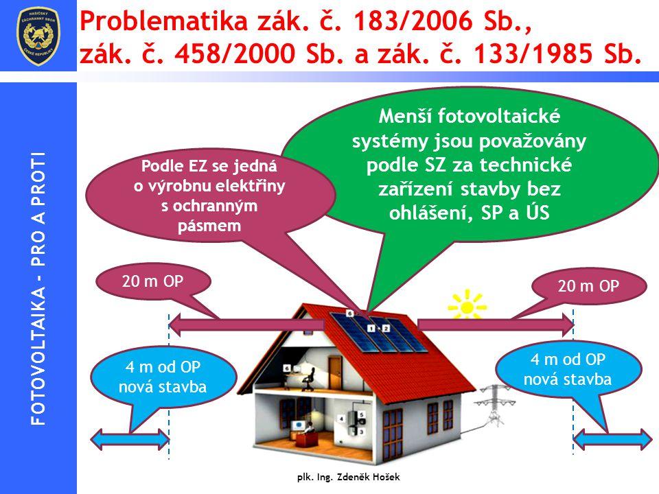 Problematika zák. č. 183/2006 Sb., zák. č. 458/2000 Sb. a zák. č. 133/1985 Sb. plk. Ing. Zdeněk Hošek Menší fotovoltaické systémy jsou považovány podl