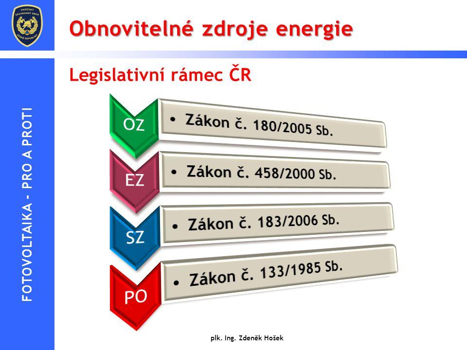 Obnovitelné zdroje energie plk. Ing. Zdeněk Hošek Legislativní rámec ČR FOTOVOLTAIKA - PRO A PROTI