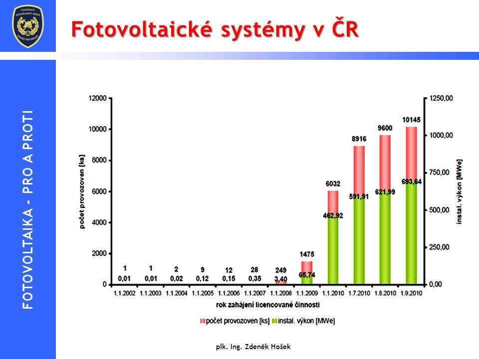Fotovoltaické systémy v ČR plk. Ing. Zdeněk Hošek FOTOVOLTAIKA - PRO A PROTI