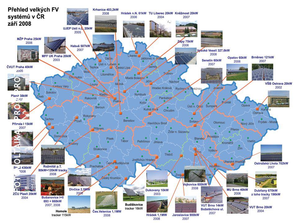 Fotovoltaické systémy v ČR plk. Ing. Zdeněk Hošek Mapa velkých fotovoltaických systémů instalovaných na území České republiky do konce září 2008 FOTOV