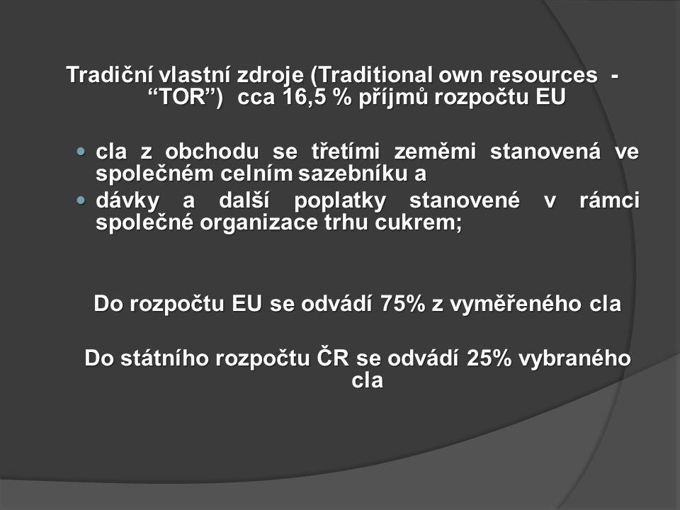 Tradiční vlastní zdroje (Traditional own resources - TOR ) cca 16,5 % příjmů rozpočtu EU cla z obchodu se třetími zeměmi stanovená ve společném celním sazebníku a cla z obchodu se třetími zeměmi stanovená ve společném celním sazebníku a dávky a další poplatky stanovené v rámci společné organizace trhu cukrem; dávky a další poplatky stanovené v rámci společné organizace trhu cukrem; Do rozpočtu EU se odvádí 75% z vyměřeného cla Do státního rozpočtu ČR se odvádí 25% vybraného cla