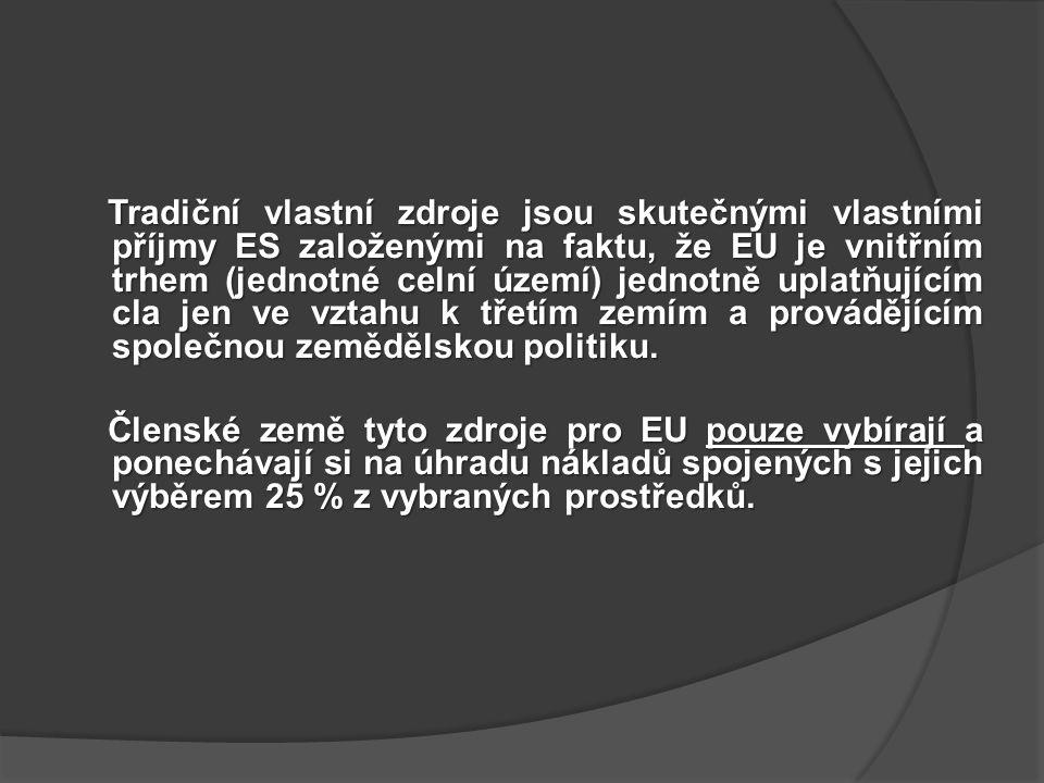 Tradiční vlastní zdroje jsou skutečnými vlastními příjmy ES založenými na faktu, že EU je vnitřním trhem (jednotné celní území) jednotně uplatňujícím