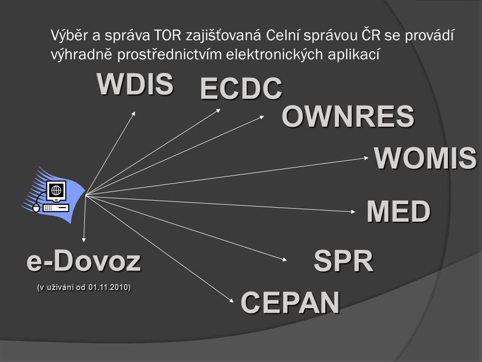 Výběr a správa TOR zajišťovaná Celní správou ČR se provádí výhradně prostřednictvím elektronických aplikací WDIS ECDC ECDC OWNRES WOMIS SPR e-Dovoz (v užívání od 01.11.2010) CEPAN MED
