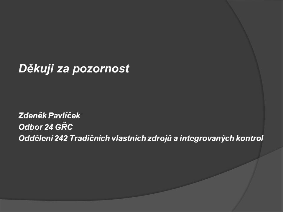Děkuji za pozornost Zdeněk Pavlíček Odbor 24 GŘC Oddělení 242 Tradičních vlastních zdrojů a integrovaných kontrol
