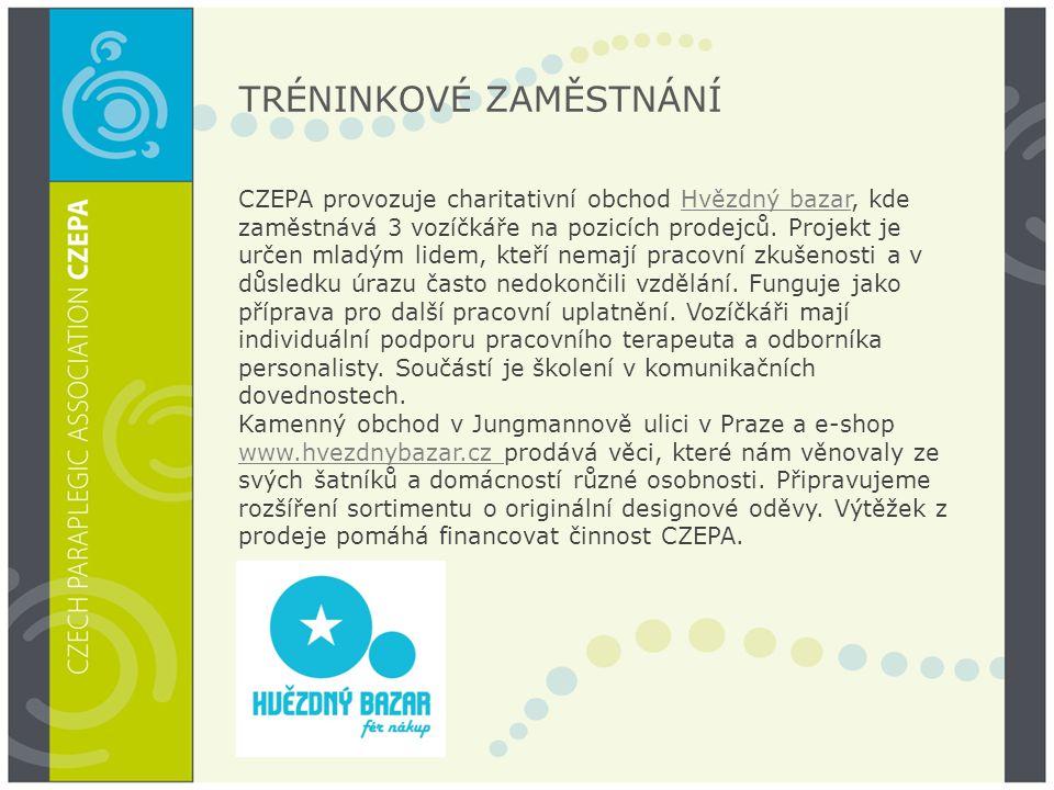 TRÉNINKOVÉ ZAMĚSTNÁNÍ CZEPA provozuje charitativní obchod Hvězdný bazar, kde zaměstnává 3 vozíčkáře na pozicích prodejců. Projekt je určen mladým lide