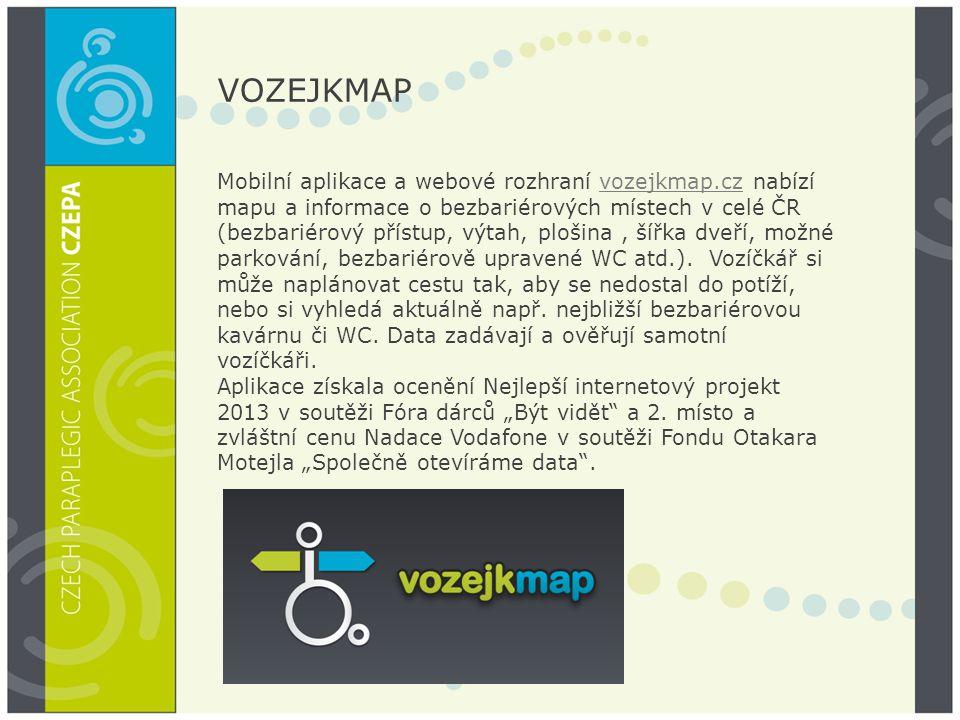 VOZEJKMAP Mobilní aplikace a webové rozhraní vozejkmap.cz nabízí mapu a informace o bezbariérových místech v celé ČR (bezbariérový přístup, výtah, plo