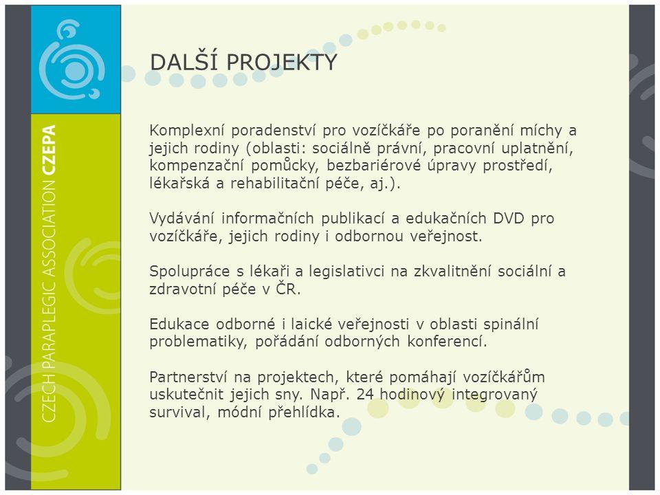 DALŠÍ PROJEKTY Komplexní poradenství pro vozíčkáře po poranění míchy a jejich rodiny (oblasti: sociálně právní, pracovní uplatnění, kompenzační pomůcky, bezbariérové úpravy prostředí, lékařská a rehabilitační péče, aj.).