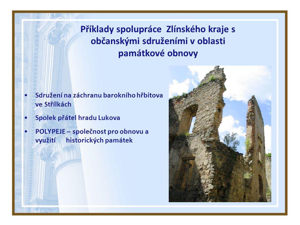 Příklady spolupráce Zlínského kraje s občanskými sdruženími v oblasti památkové obnovy Sdružení na záchranu barokního hřbitova ve Střílkách Spolek přátel hradu Lukova POLYPEJE – společnost pro obnovu a využití historických památek