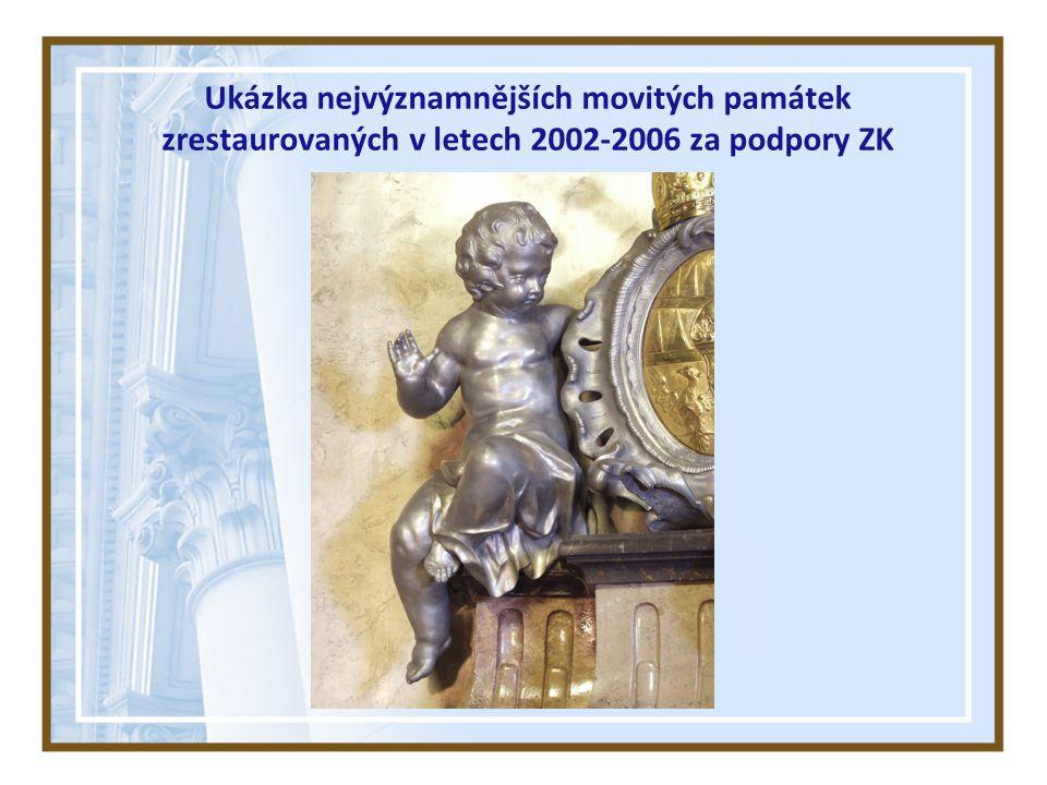 Ukázka nejvýznamnějších movitých památek zrestaurovaných v letech 2002-2006 za podpory ZK