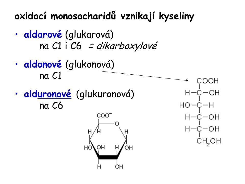 oxidací monosacharidů vznikají kyseliny aldarové (glukarová) na C1 i C6 = dikarboxylové aldonové (glukonová) na C1 alduronové (glukuronová) na C6