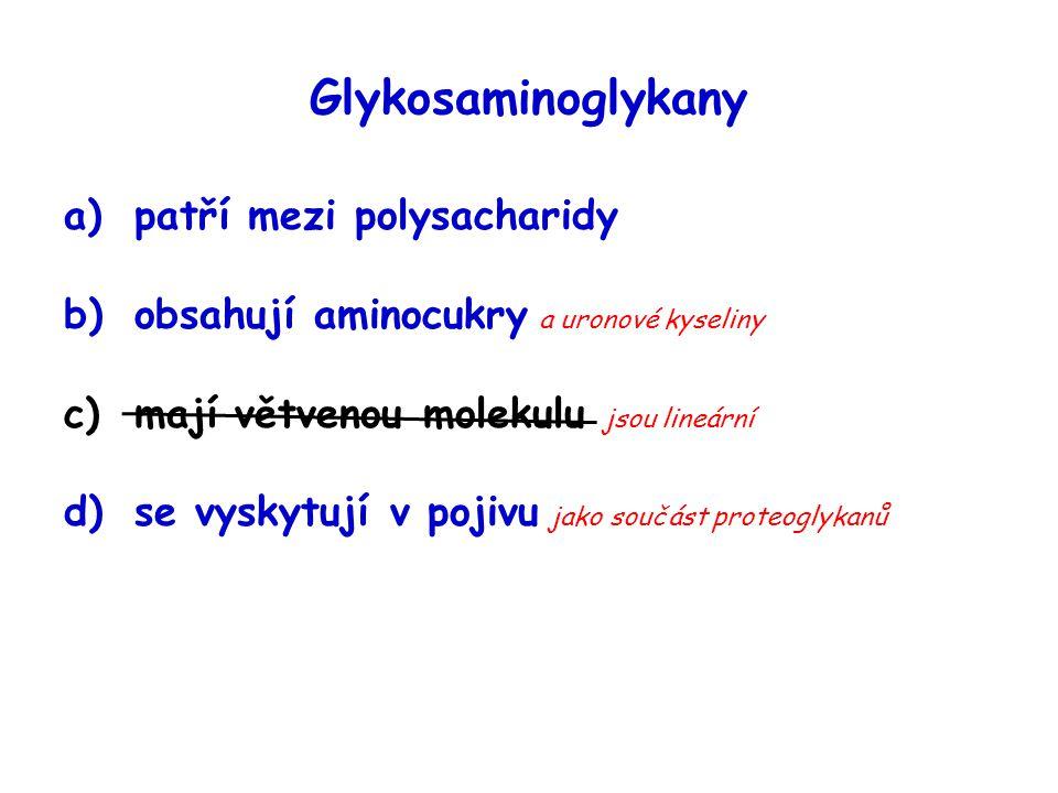 Glykosaminoglykany a)patří mezi polysacharidy b)obsahují aminocukry a uronové kyseliny c)mají větvenou molekulu jsou lineární d)se vyskytují v pojivu
