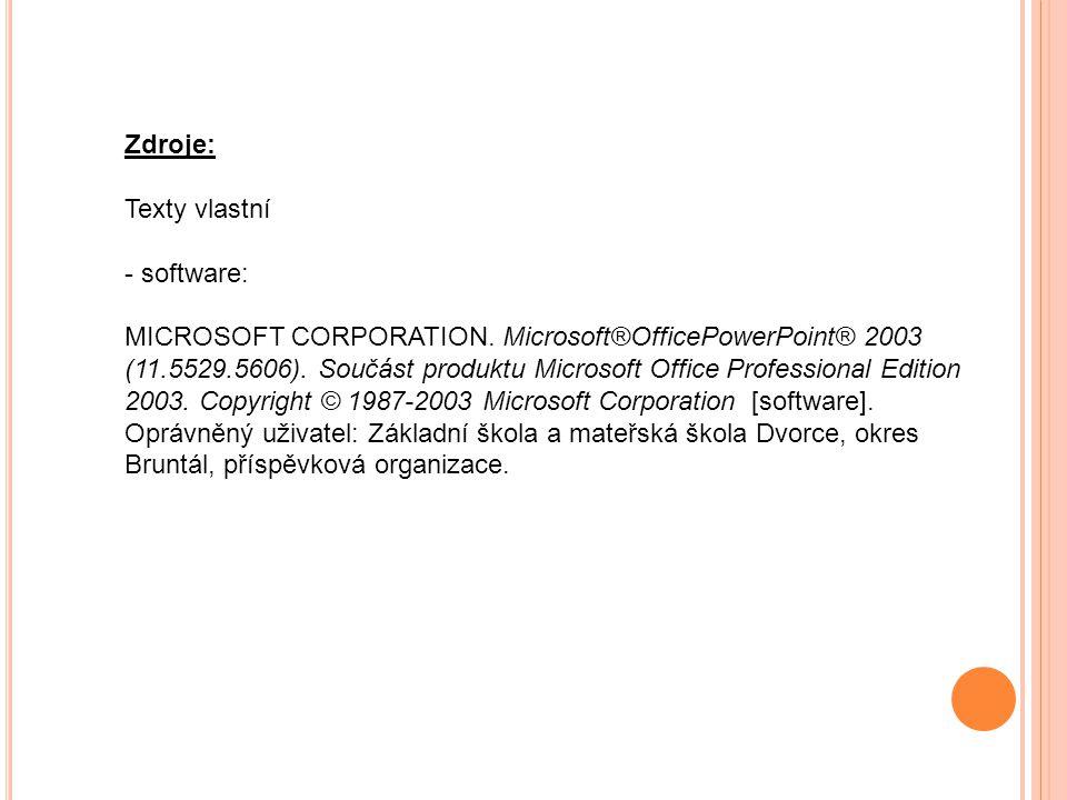 Zdroje: Texty vlastní - software: MICROSOFT CORPORATION.
