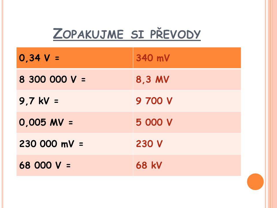 Z OPAKUJME SI PŘEVODY 0,34 V =340 mV 8 300 000 V =8,3 MV 9,7 kV =9 700 V 0,005 MV =5 000 V 230 000 mV =230 V 68 000 V =68 kV
