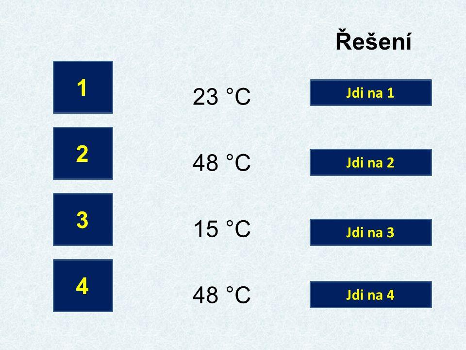 Řešení 1 2 3 4 23 °C 48 °C 15 °C 48 °C Jdi na 1 Jdi na 2 Jdi na 3 Jdi na 4